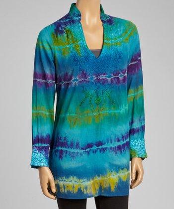 Turquoise Tie-Dye Tunic - Women
