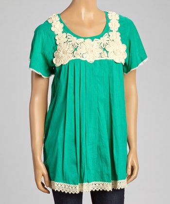 Green Floral Embroidered Cap-Sleeve Top - Women
