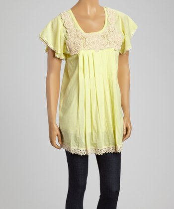 Yellow Floral Embroidered Cap-Sleeve Top - Women