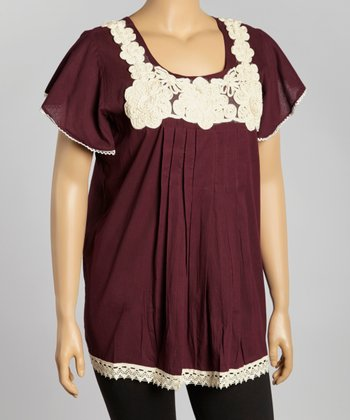 Purple Floral Embroidered Cap-Sleeve Top - Women