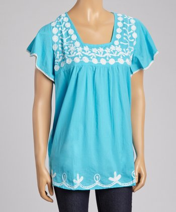 Blue Embroidered Square Neck Top - Women