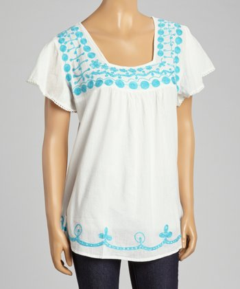 White & Blue Embroidered Square Neck Top - Women