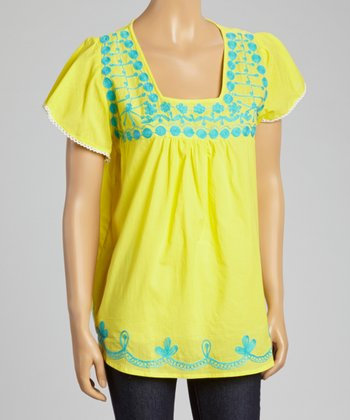 Yellow & Blue Embroidered Square Neck Top - Women