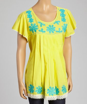 Yellow & Blue Embroidered Cap-Sleeve Top - Women