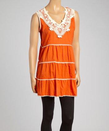 Orange Crochet V-Neck Tunic - Women