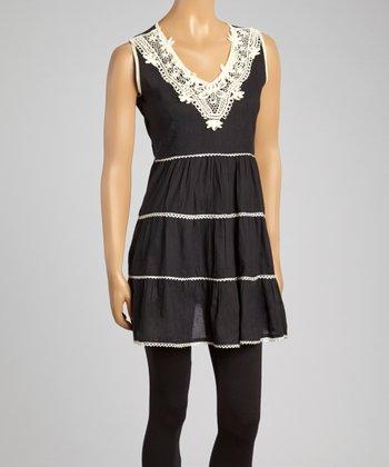 Black Crochet V-Neck Tunic - Women