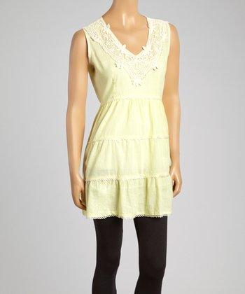 Light Yellow Crochet V-Neck Tunic - Women