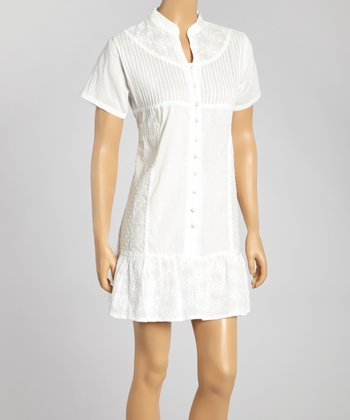 White Embroidered Button-Up Dress - Women