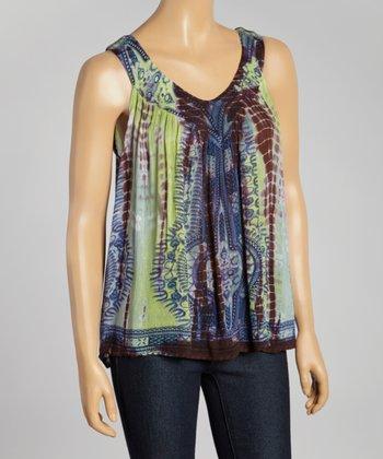 Green & Brown Tie-Dye Sleeveless Top - Women