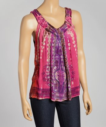 Pink Tie-Dye Sleeveless Top - Women