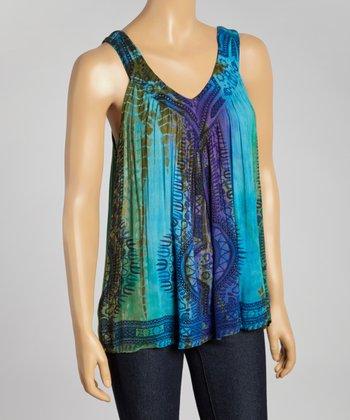 Blue Tie-Dye Sleeveless Top - Women