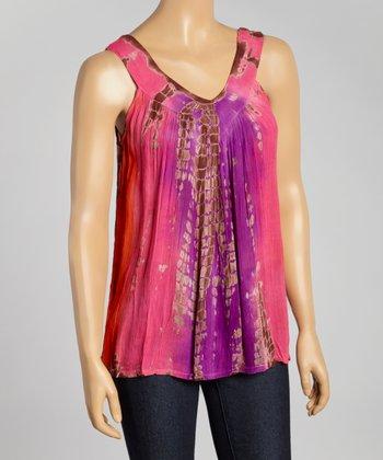 Pink & Purple Tie-Dye Sleeveless Top - Women