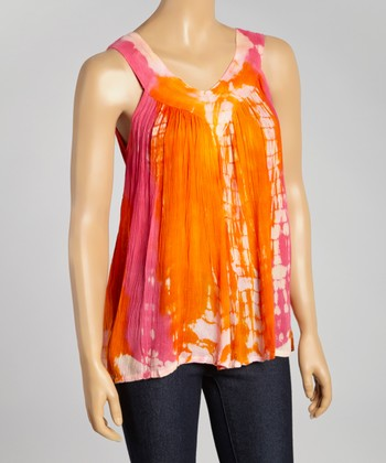 Orange & Pink Tie-Dye Sleeveless Top - Women