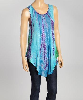 Teal Tie-Dye Swing Top - Women