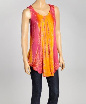Orange Tie-Dye Swing Top - Women