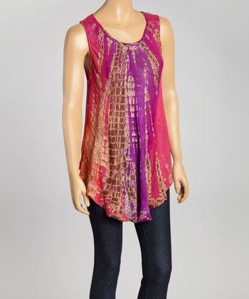 Pink & Purple Tie-Dye Swing Top - Women