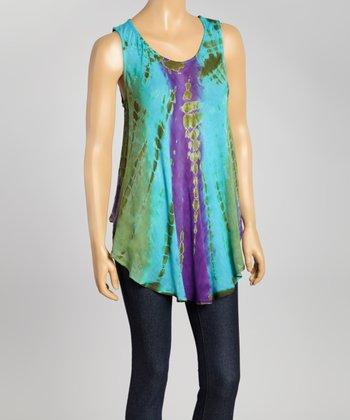 Turquoise Tie-Dye Swing Top - Women