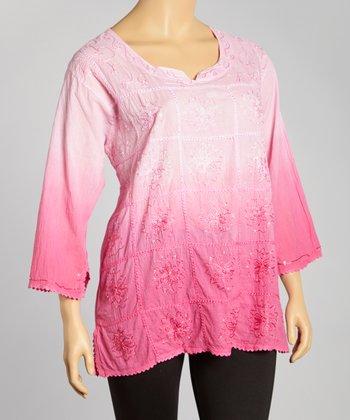 Pink Ombré Scoop Neck Top - Plus