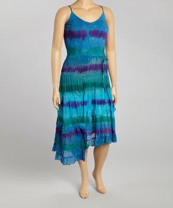 Blue & Purple Tie-Dye Sleeveless Dress - Women
