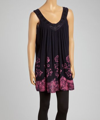 Black Embroidered Shift Tunic - Women