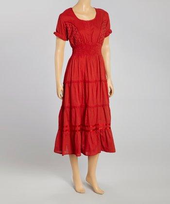 Red Smocked Eyelet Maxi Dress - Women