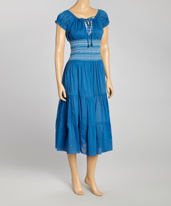 Blue Embroidered Peasant Dress - Women
