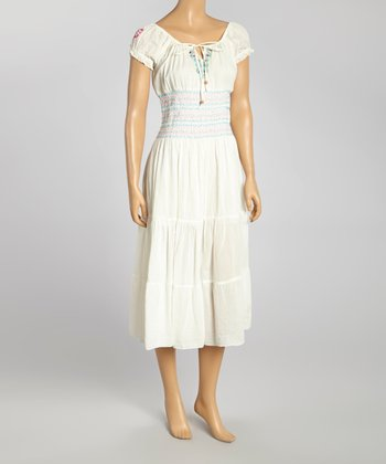 White Embroidered Peasant Dress - Women