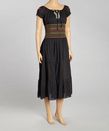 Black Embroidered Peasant Dress - Women