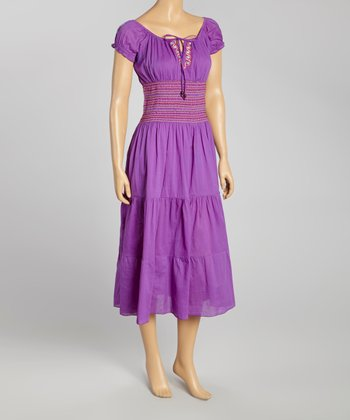 Purple Embroidered Peasant Dress - Women
