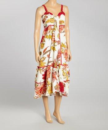 Creme & Olive Floral Dress - Women