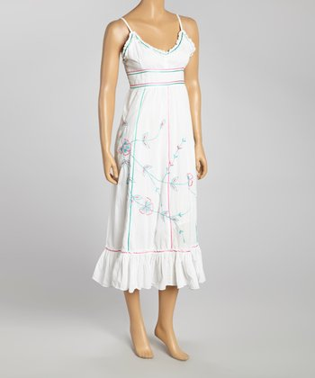White Embroidered Empire-Waist Dress - Women