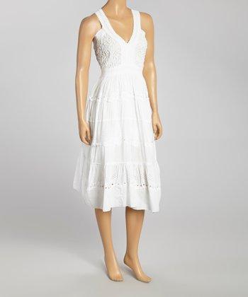 White Embroidered Yoke Dress - Women