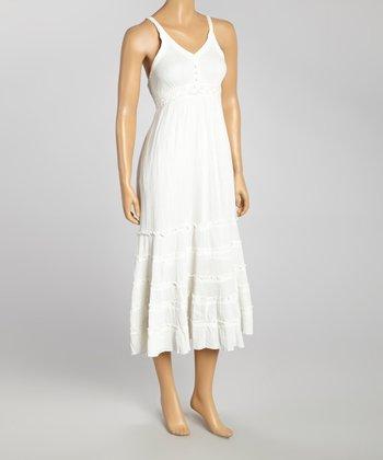 White Crochet Sleeveless Dress - Women