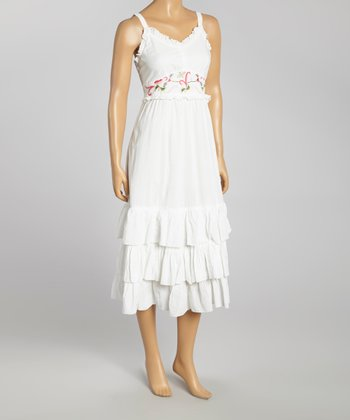 White Embroidered Ruffle Empire-Waist Dress - Women