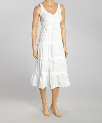 White V-Neck Maxi Dress - Women