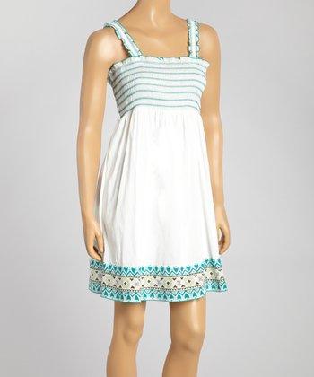 White & Turquoise Smocked Dress - Women