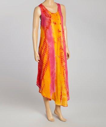 Pink & Orange Tie-Dye Momo Maxi Dress - Women