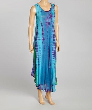 Teal Tie-Dye Momo Maxi Dress - Women