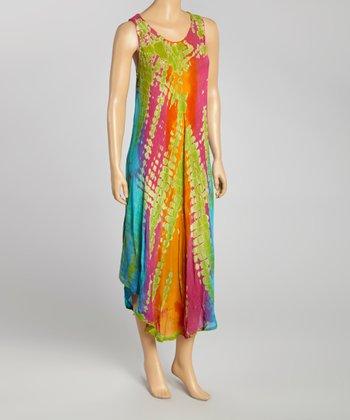 Lime & Pink Tie-Dye Momo Maxi Dress - Women