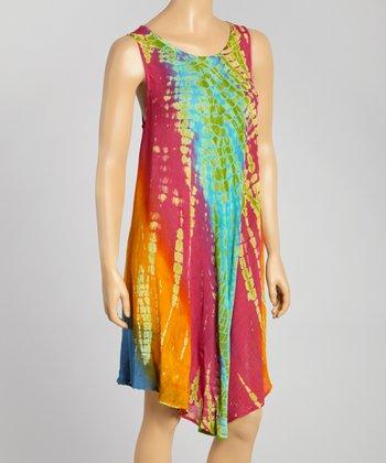 Green & Orange Tie-Dye Momo Dress - Women