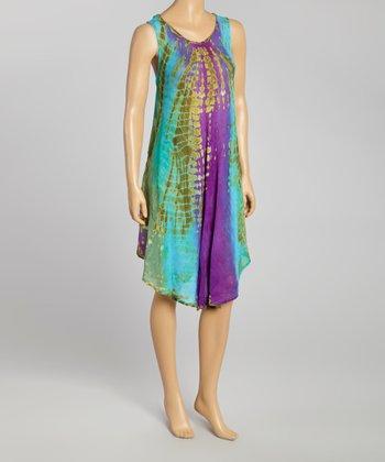 Purple & Green Tie-Dye Momo Dress - Women
