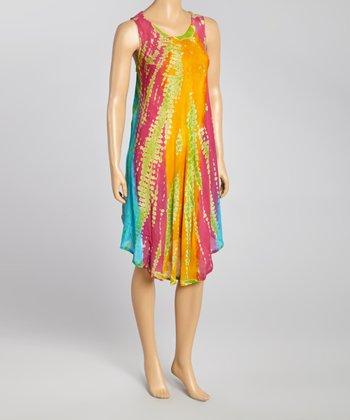 Orange & Pink Tie-Dye Momo Dress - Women