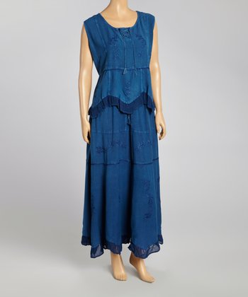 Blue Embroidered Top & Maxi Skirt - Women