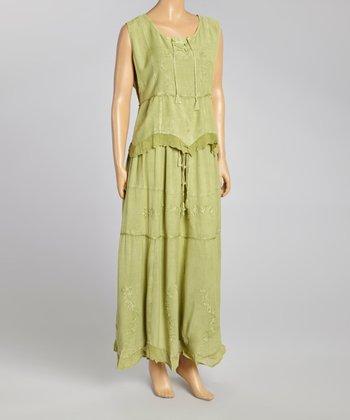Green Embroidered Top & Maxi Skirt - Women
