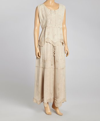 Taupe Embroidered Top & Maxi Skirt - Women