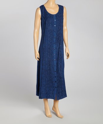 Navy Embroidered Button-Up Maxi Dress - Women