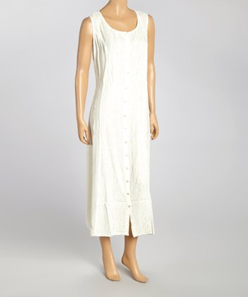 White Embroidered Button-Up Maxi Dress - Women