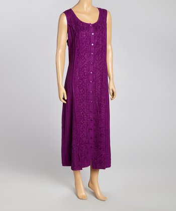 Purple Embroidered Button-Up Maxi Dress - Women