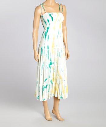 Green Tie-Dye Smocked Maxi Dress - Women