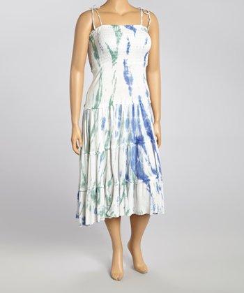 Blue Tie-Dye Smocked Maxi Dress - Women